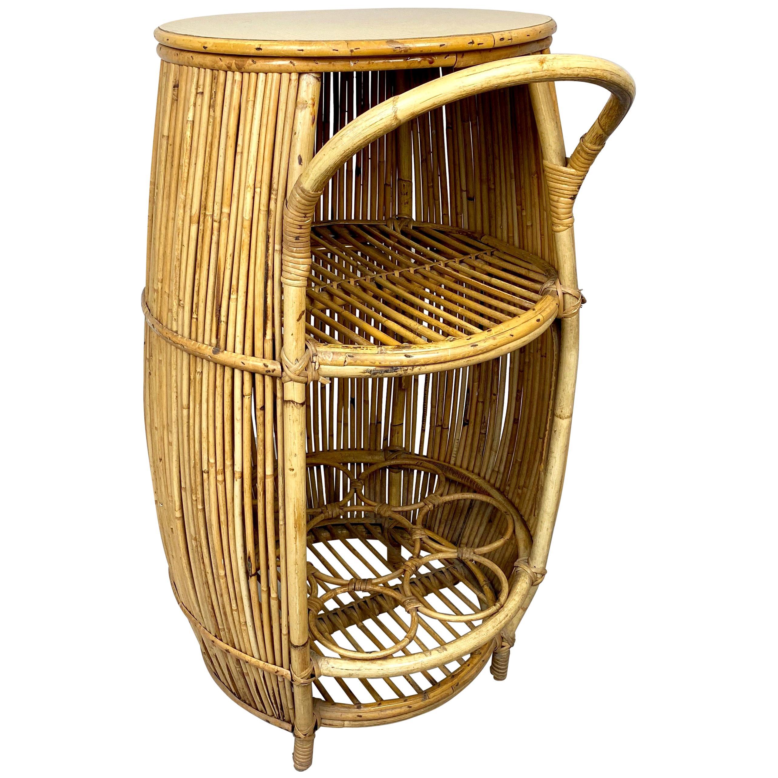 Bamboo Rattan Barrel Bar Cart Cabinet, Italy, 1960s