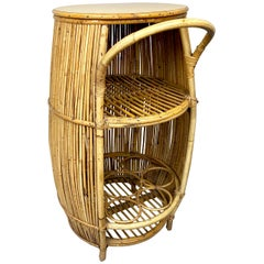 Bamboo Rattan Barrel Bar Cart Cabinet, Italy, 1960s