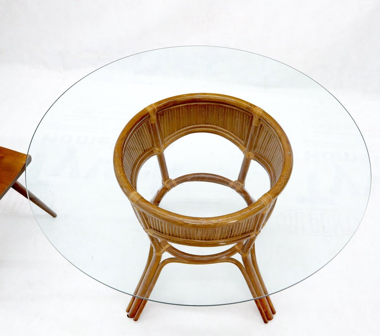 Unknown Bamboo Rattan Base Round Glass Top Dining Dinette Table For Sale
