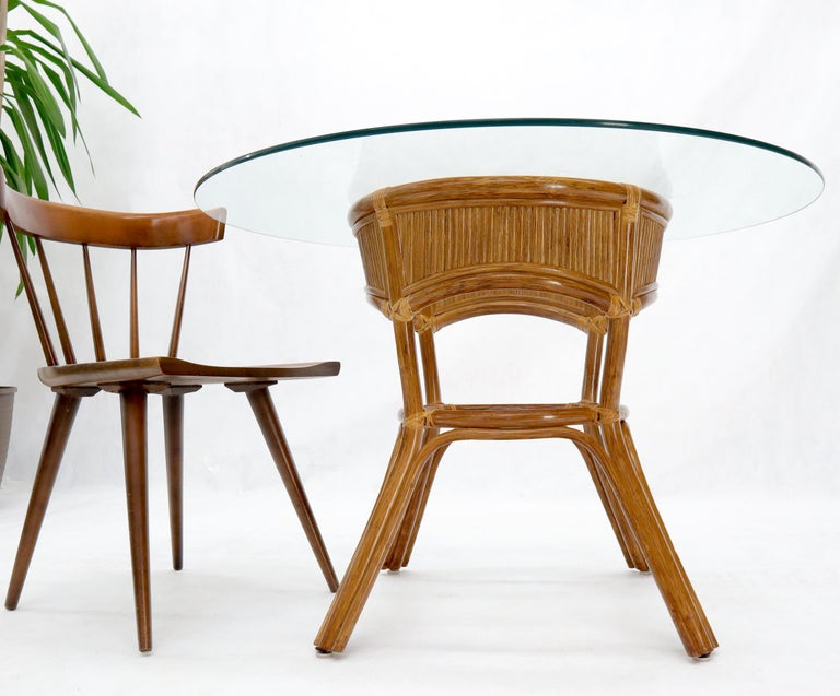 20th Century Bamboo Rattan Base Round Glass Top Dining Dinette Table For Sale