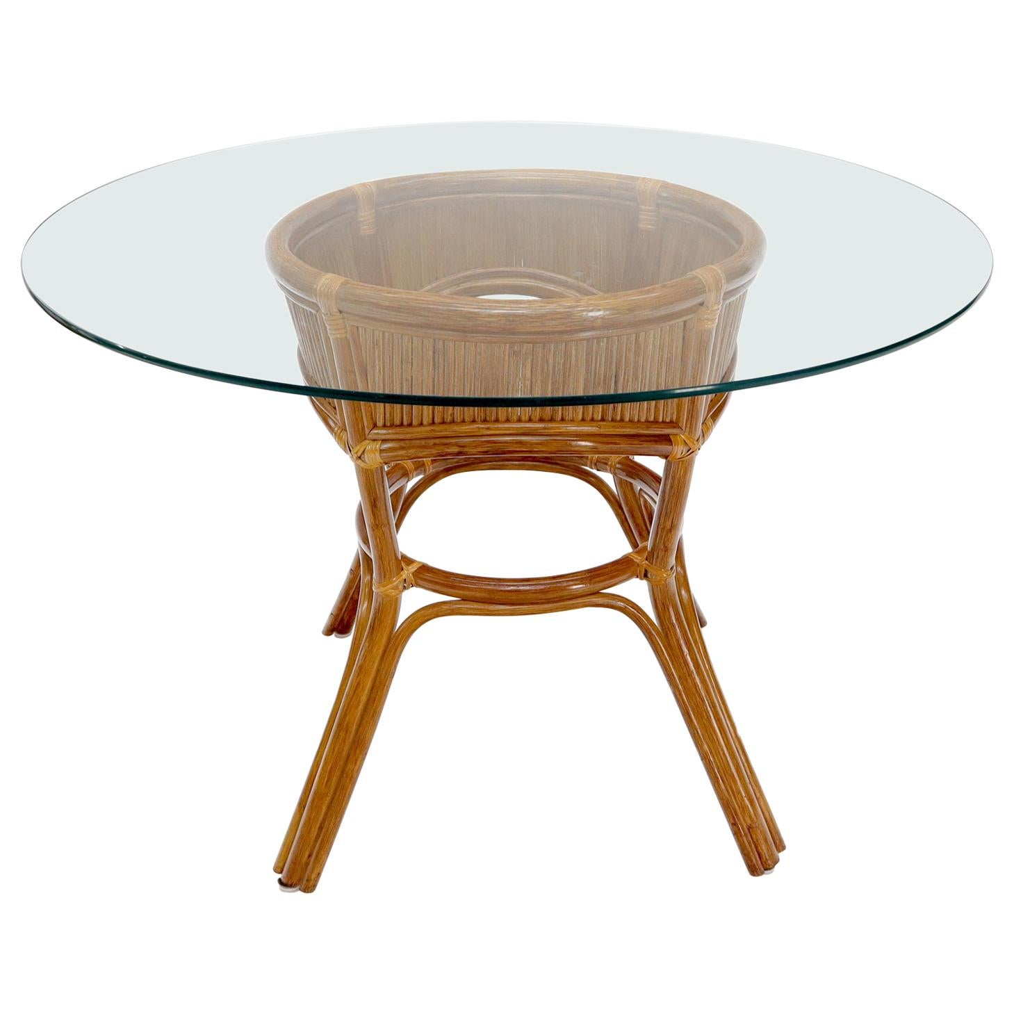 Bamboo Rattan Base Round Glass Top Dining Dinette Table