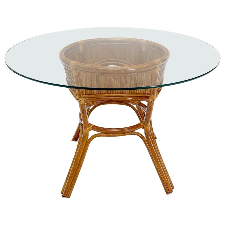 Bamboo Rattan Base Round Glass Top Dining Dinette Table For Sale
