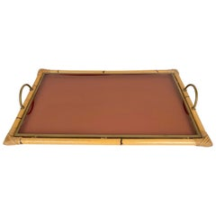 Bamboo Rattan Brass and Lucite Serving Tray, Italy, 1970s