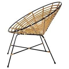 Bamboo Rattan Brown Vintage Mid-Century Modern Lounge Chair, Italy, 1960s