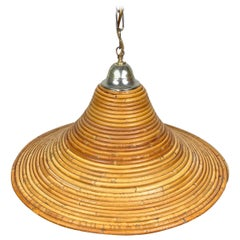 Bamboo Rattan Chandelier Pendant Light, Crespi Style, Italy, 1960s