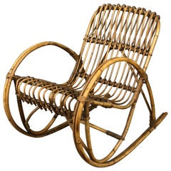 Bamboo Rattan Children Cane Rocking Chair, 1950s