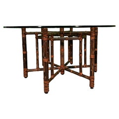 Bamboo Rattan Circular Dining Table by McGuire