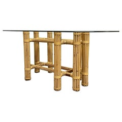 Bamboo Rattan Dining Table in the Manner of McGuire