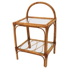 Bamboo Rattan End Side Table or Nightstand