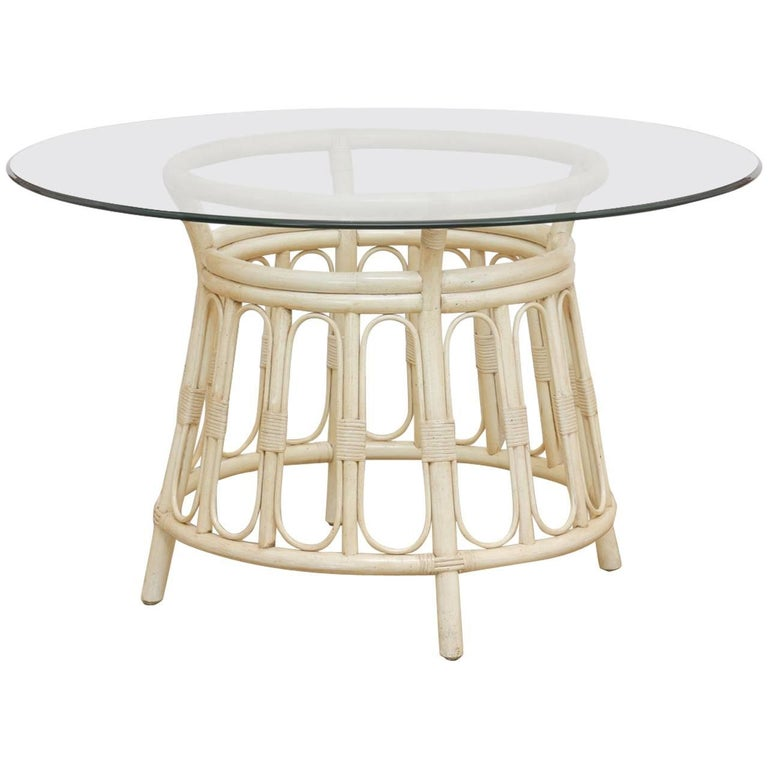 Bamboo Rattan Lacquered Round Dining Table By Brown Jordan For Sale