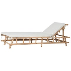 Bamboo Rattan Lounger Relax Chaise Longue