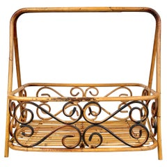 Bamboo & Rattan Magazine Rack Holder, Italy, 1960s