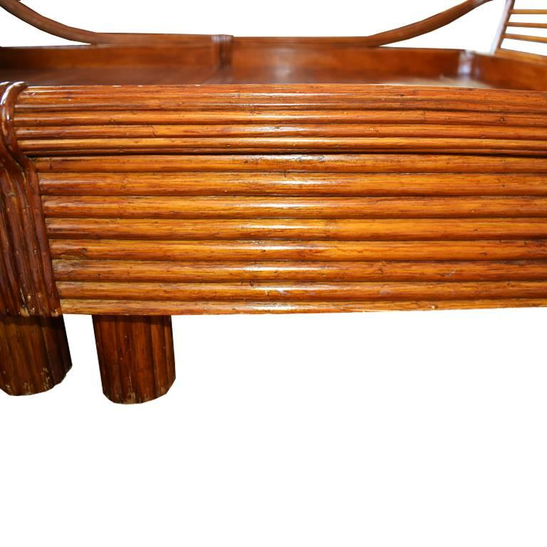 Art Deco Bamboo Rattan Pretzel Queen Bed in the Style of Paul Frankl For Sale