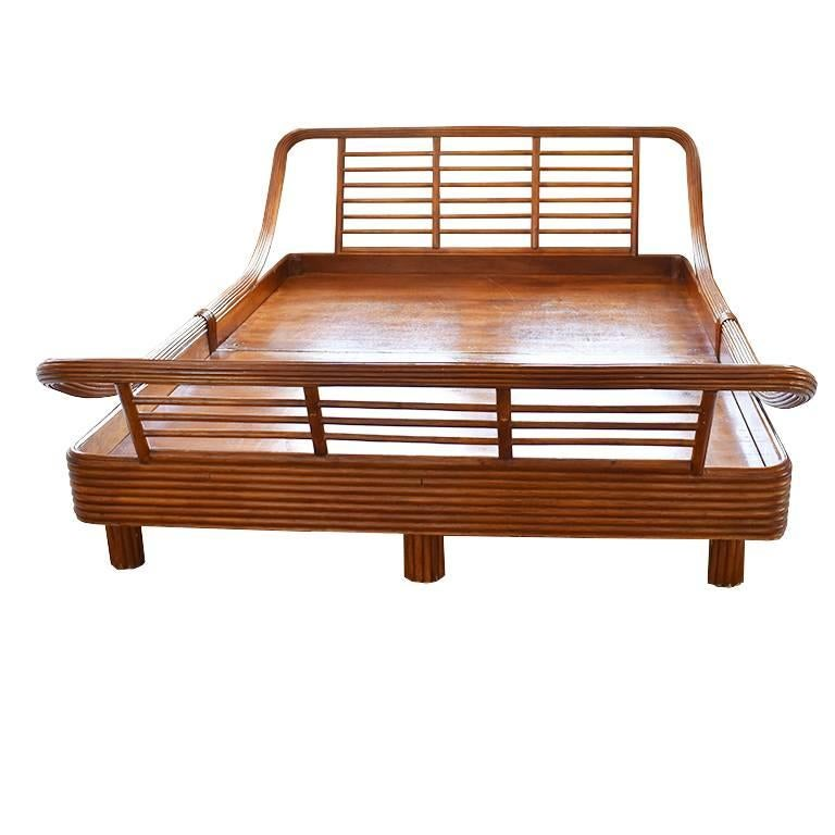 Bamboo Rattan Pretzel Queen Bed in the Style of Paul Frankl