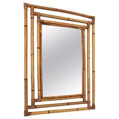 Bamboo Rattan Rectangular Large Mirror with Geometric Frame, 1960s