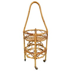 Bamboo Rattan Round Serving Bar Cart & Bottle Holder, Italy, 1960s