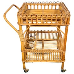Bamboo Rattan Serving Bar Cart Trolley, Italy, 1960s