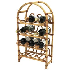 Bamboo Rattan Wine Rack / 12 Bottle Holder with Arched Top