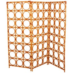 Bamboo Screen, Room Divider, natural color. Spain 1970s