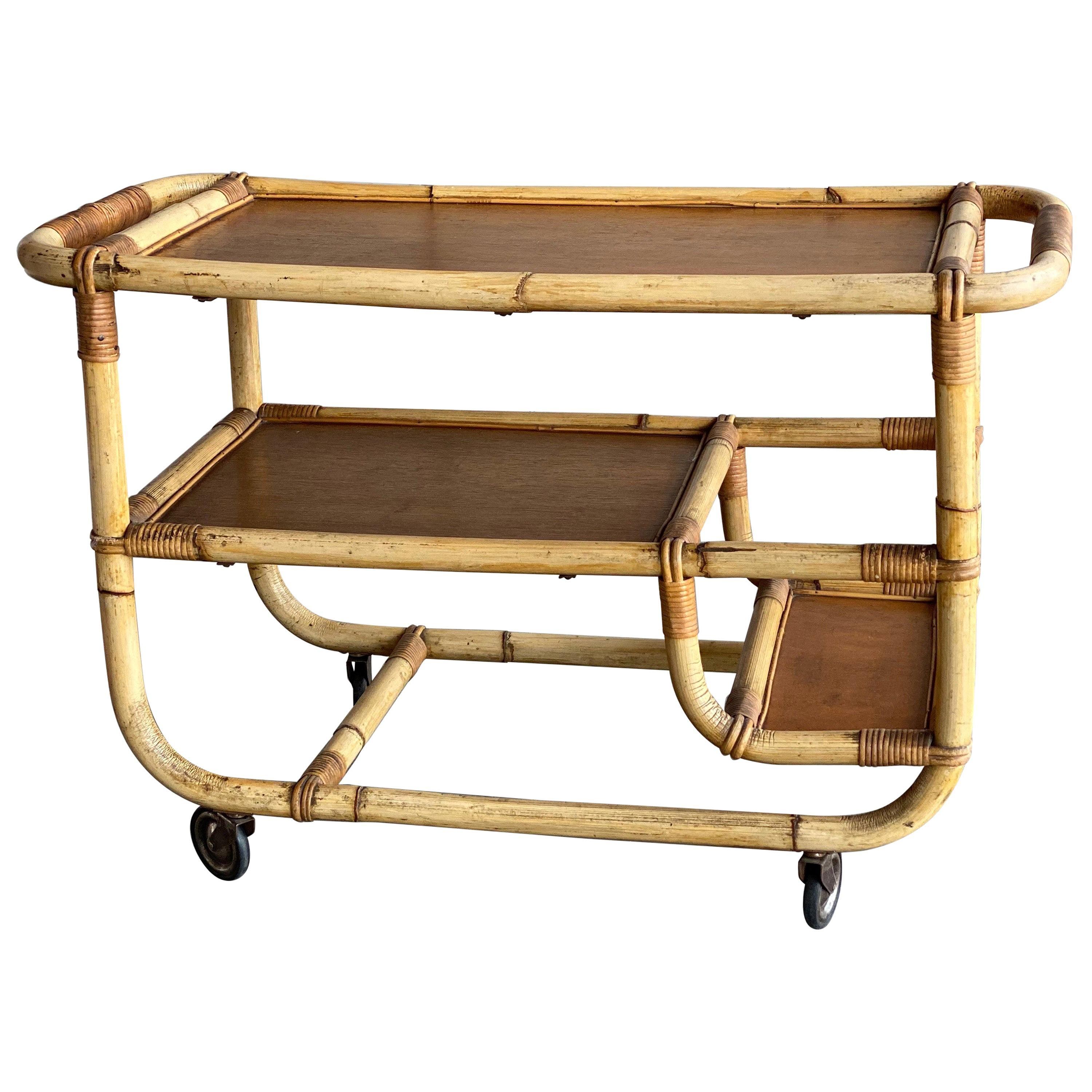 Bamboo Serving Trolley, 1940s, Art Deco, Midcentury Bar