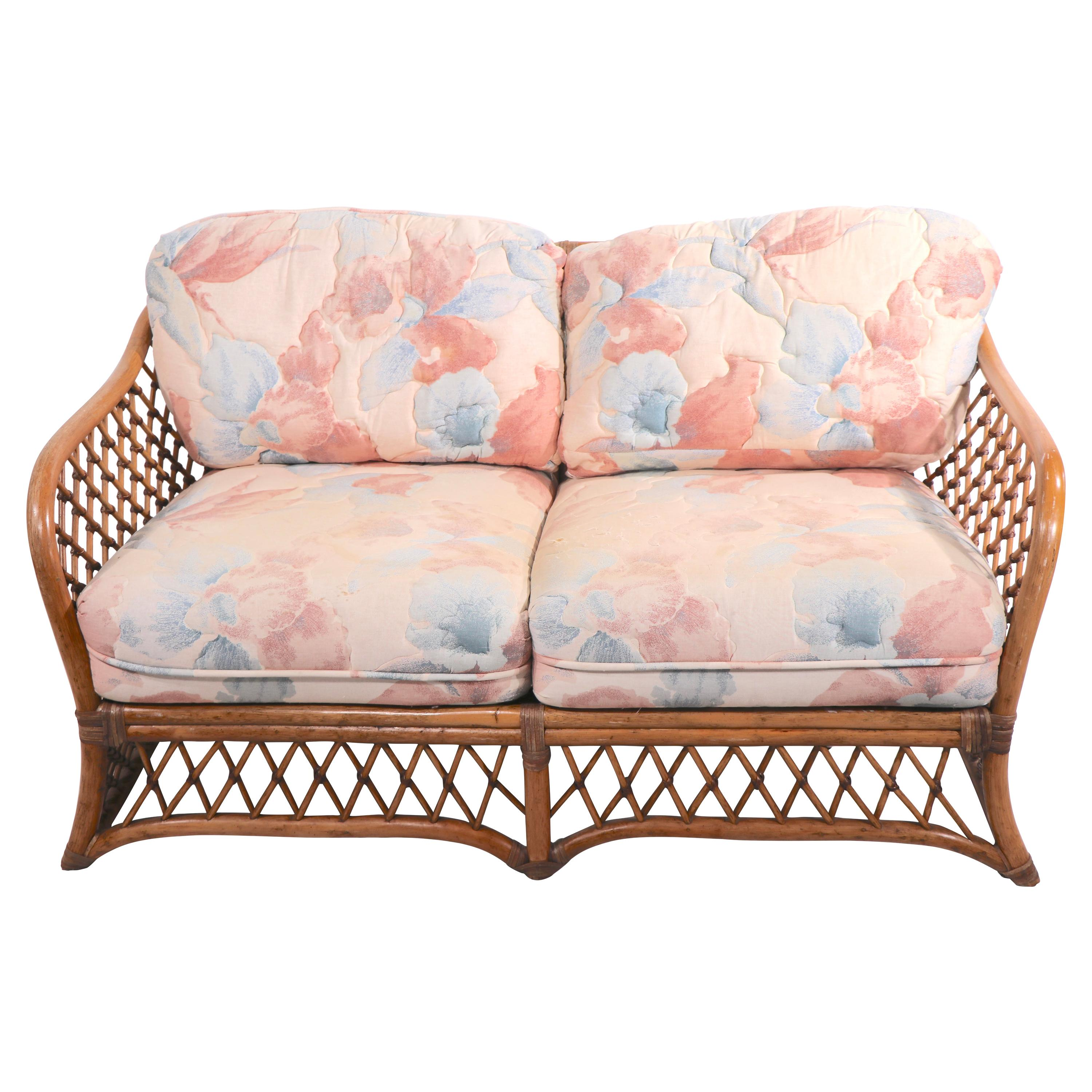 Bamboo Settee Loveseat Sofa with Leather Wrapping