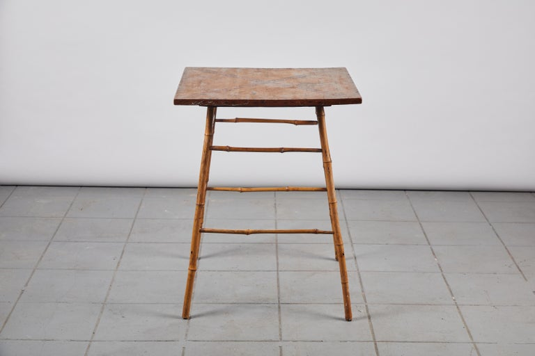Bamboo Side Table with Darkened Stenciled Top In Good Condition For Sale In Los Angeles, CA