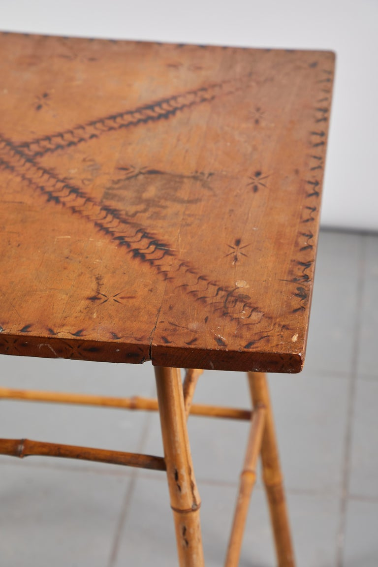 Mid-20th Century Bamboo Side Table with Darkened Stenciled Top For Sale