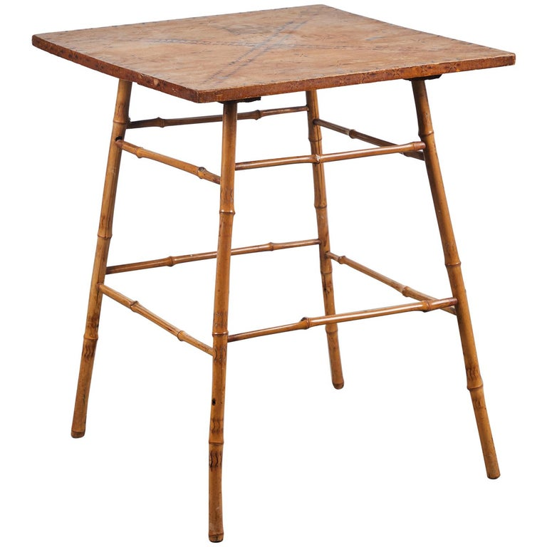 Bamboo Side Table with Darkened Stenciled Top For Sale
