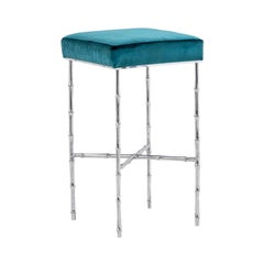 Bamboo Stool in Silvered Bronze, 1980s