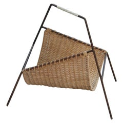 Bamboo Straw Magazine Rack in Black and Beige Geometric Stylized Metal, 1950s