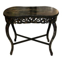 Bamboo Style Carved Ebonized 4 Leg Table with Chinoiserie Pantry