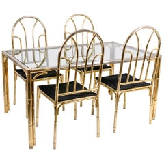 Bamboo Style Dining Table and Four Chairs in Silvered Brass, 1980s