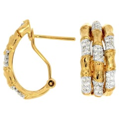 Bamboo Style Huggie Hoop Close to the Ear with .34ct of Diamonds in 14kt Gold