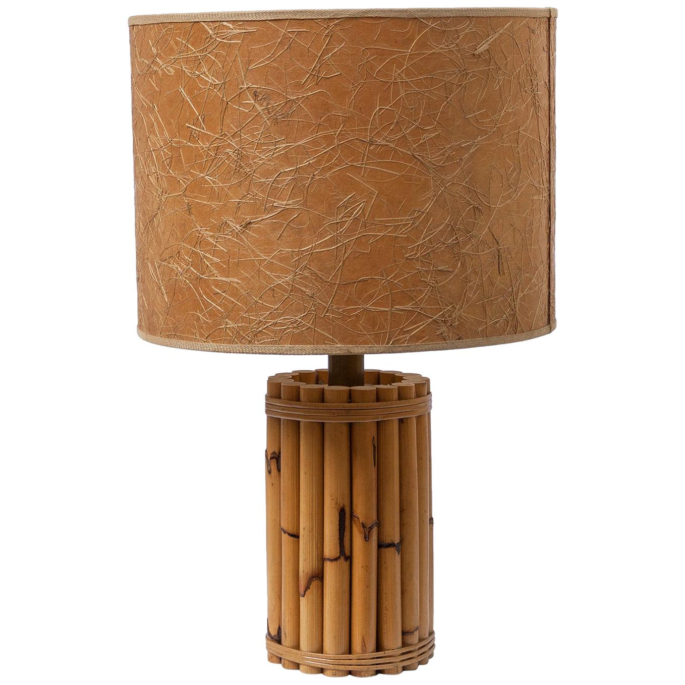 Bamboo Table Lamp Paper Shade, France, 1950s