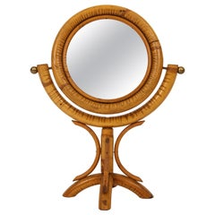 Bamboo Table Mirror, Brass Detail Midcentury France, 1950s
