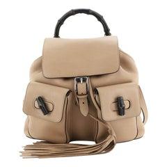 Bamboo Tassel Backpack Leather Medium