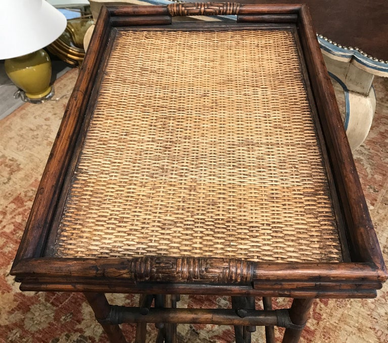 20th Century Bamboo Tray Top Wine Rack or Side Table For Sale