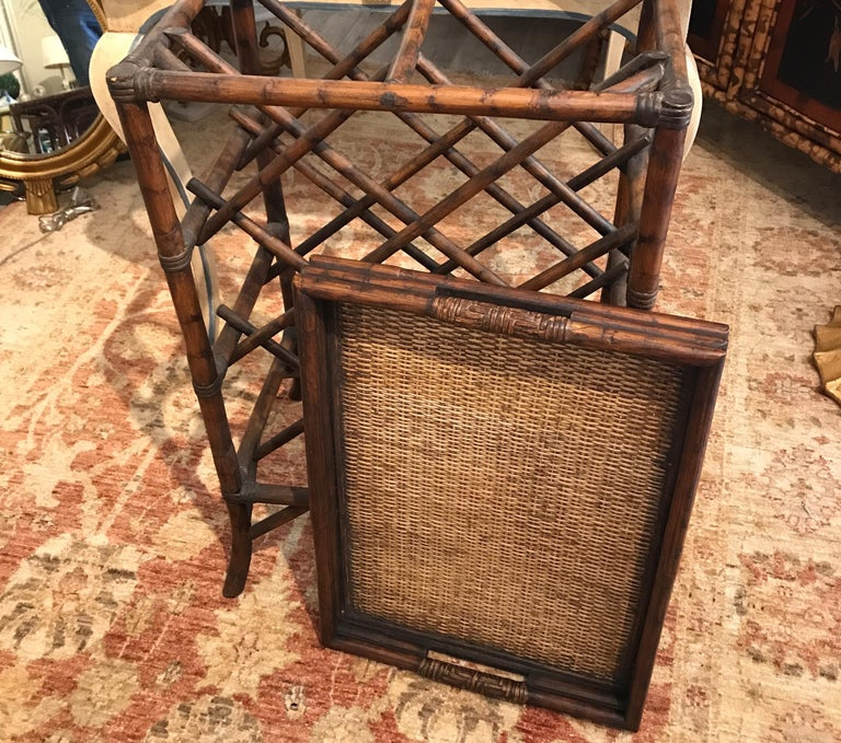 Bamboo Tray Top Wine Rack or Side Table For Sale 1