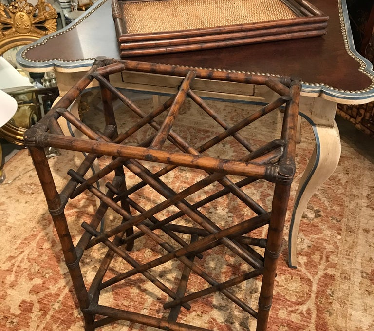 Bamboo Tray Top Wine Rack or Side Table For Sale 2
