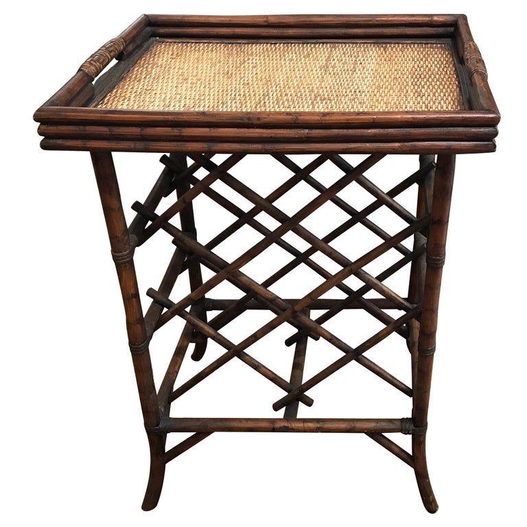 Bamboo Tray Top Wine Rack or Side Table For Sale