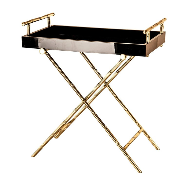 Bamboo Tray with Brass Stand For Sale