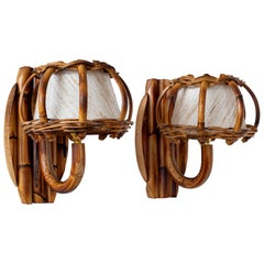 Bamboo Wall Sconces Attributed to Louis Sognot