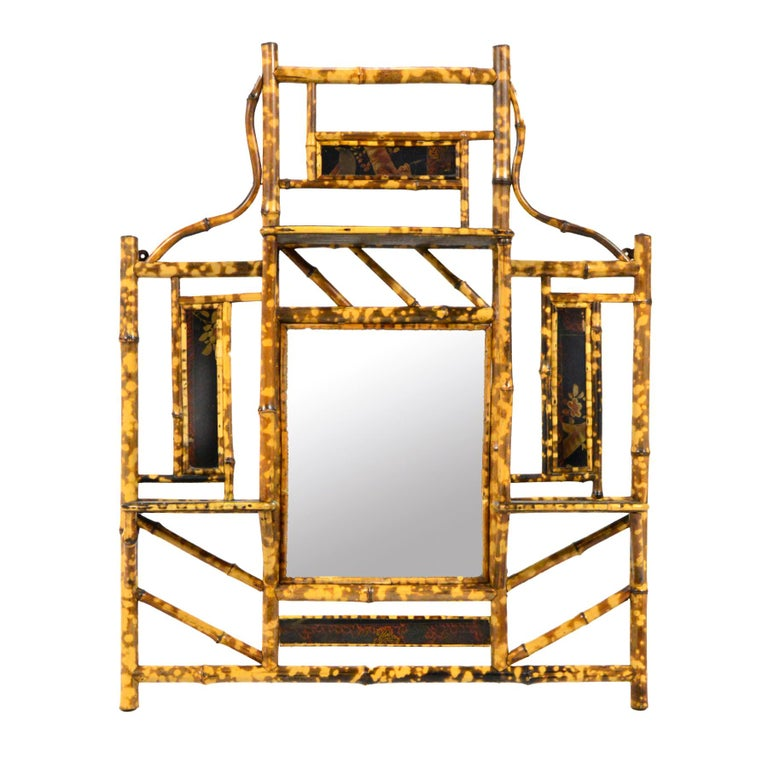 Hollywood Regency Bamboo Wall Shelf with Mirror For Sale