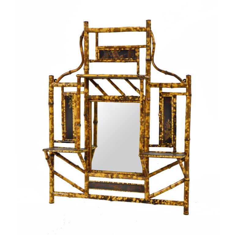 Philippine Bamboo Wall Shelf with Mirror For Sale