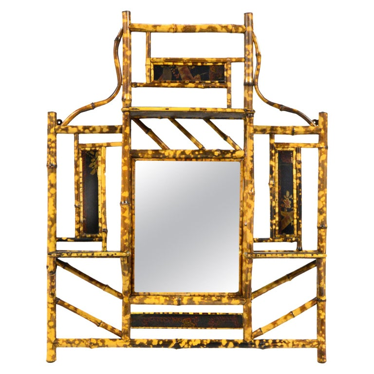 Bamboo Wall Shelf with Mirror For Sale