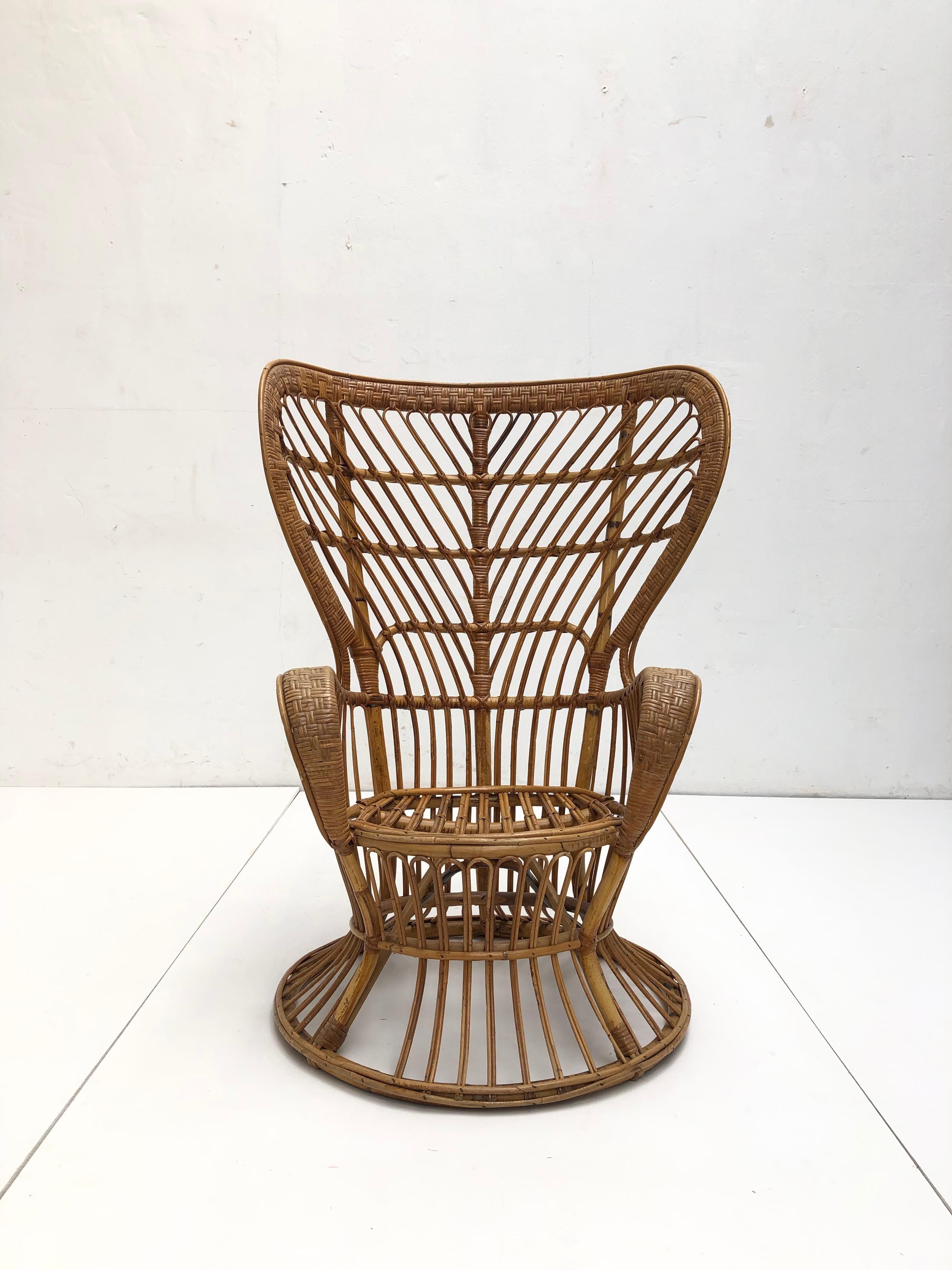 Bamboo Wicker Lio Carminati Carlo Mollino Chair Bonacina Italy 1950s