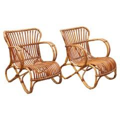 Bamboo Wicker Lounge Chairs Designed by Dirk van Sliedrecht, 1950s