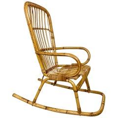 Bamboo Wicker Rocking Chair Attributable to Vittorio Bonacina, Italy, 1960s