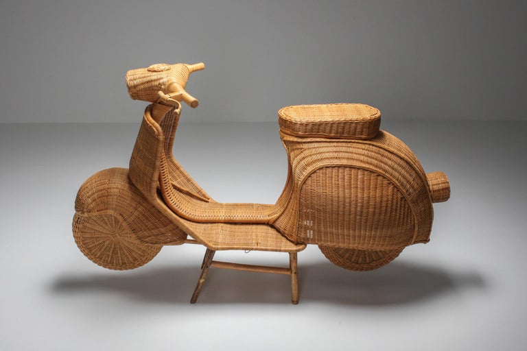 Life size sculpture in wicker and bamboo, Italy, 1970s