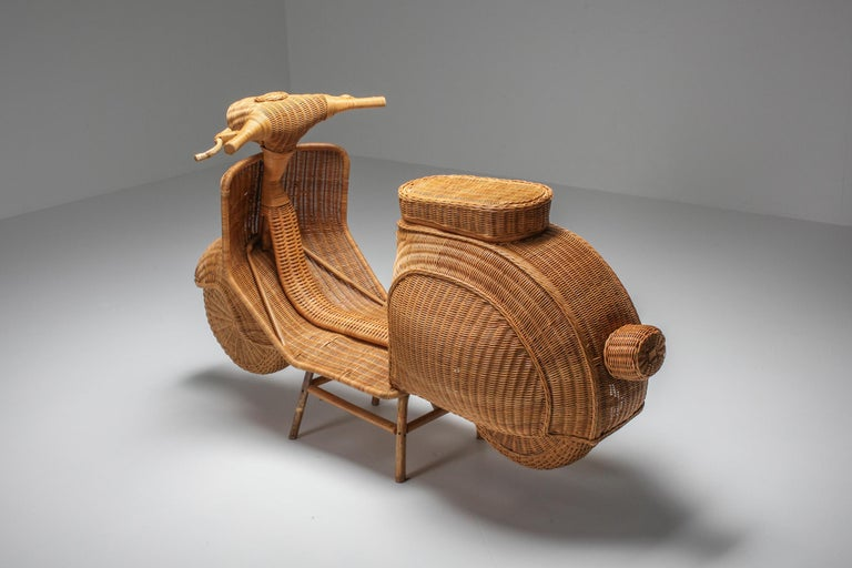 Italian Bamboo Wicker Vespa Scooter from the 1970s